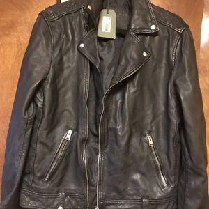 Brand New All Saints Black Leather Jacket